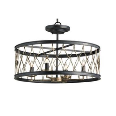 Currey and Company 9902 Crisscross - Four Light Semi-Flush Mount