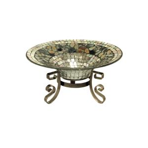 """11.75"""" Silver Decor Bowl With Stand"""
