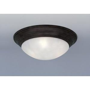 3 Light Flush Mount With Alabaster Glass Shade