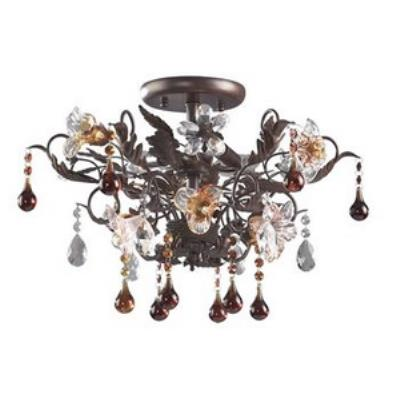 Elk Lighting 7044/3 Cristallo Fiore - Three Light Semi Flush Mount