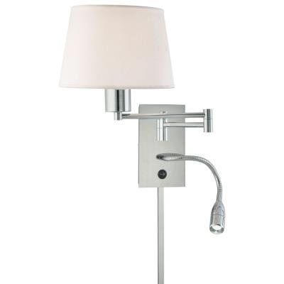 """George Kovacs Lighting P478-077 15.75"""" Two Light Swing Arm Wall Sconce with Reading Lamp"""
