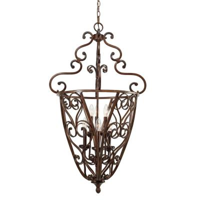 Golden Lighting 4002-CG6 RSB Loretto Caged Foyer