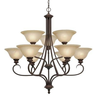 Golden Lighting 6005-9 RBZ 2 Tier Chandelier