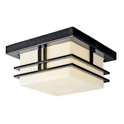 Kichler Lighting 49206BKFL Tremillo - Two Light Outdoor Flush Mount