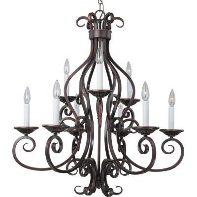 Maxim Lighting 12216OI Manor - Nine Light 2-Tier Chandelier