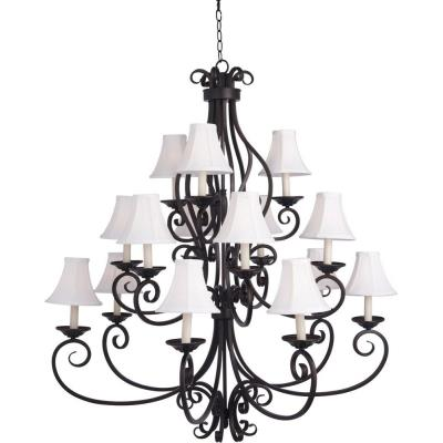 Maxim Lighting 12219OI/SHD123 Manor - Fifteen Light 3-Tier Chandelier