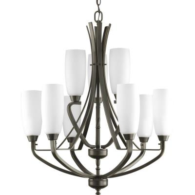 Progress Lighting P4439-20 Nine-Light, Two-Tier Chandelier Fixture - Chandelier