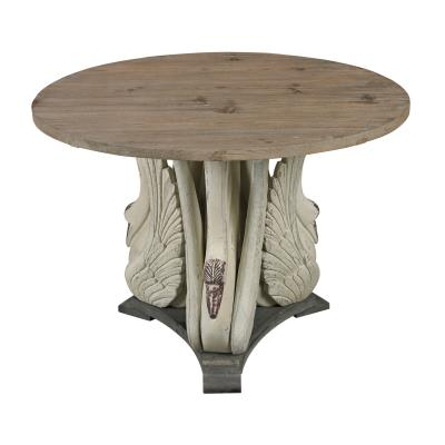 """Sterling Industries 138-086 Baywood - 40"""" Swan Accent Table with Wooden Top"""