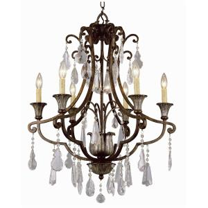 Crystal Flair - Six Light Chandelier with Crystal Accent