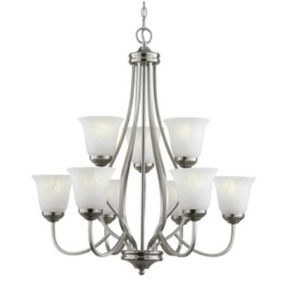 Trans Globe Lighting PL-10009 AGB Nine Light 2-Tier Chandelier