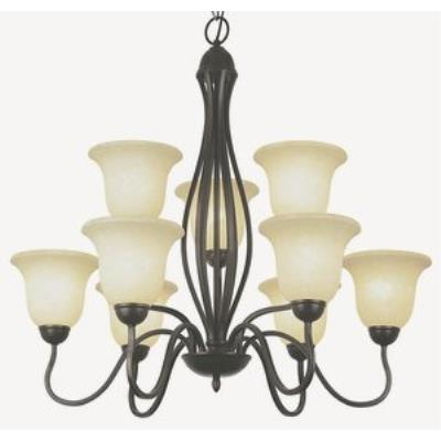 Trans Globe Lighting PL-8169 ROB Farmhouse - Nine Light 2-Tier Chandelier