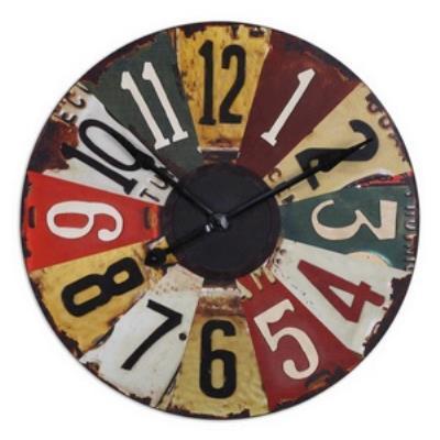 """Uttermost 06675 Vintage License Plates - 29"""" Round Clock"""