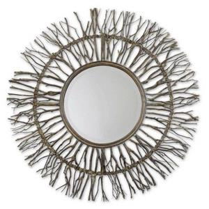 "Josiah - 38.25"" Round Wood Mirror"