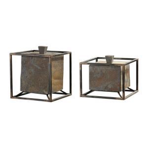 """Slate - 8.75"""" Cube Boxes (Set of 2)"""