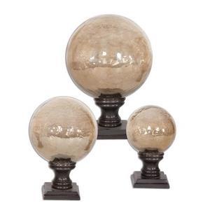"""Lamya - 7"""" Glass Globe Finial (Set of 3)"""