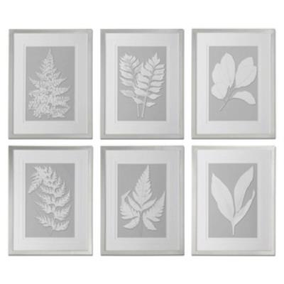 "Uttermost 41394 Moonlight Ferns - 25.625"" Floral Wall Art (Set of 6)"