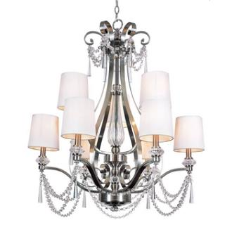 Trans Globe Lighting 7879 BN Two Tier Nine Light Chandelier