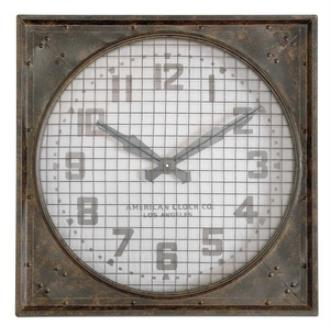 """Uttermost 06083 Warehouse - 26"""" Clock with Grill"""