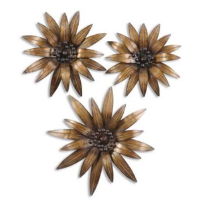 Uttermost 13479 Golden Gazanias - Set of Three Decorative Wall Art