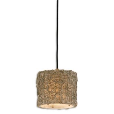Uttermost 21837 Knotted Rattan - One Light Mini Drum Pendant